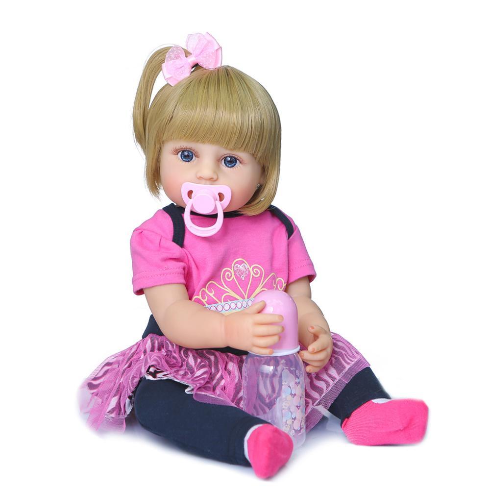 55CM Full Body Soft Silicone Reborn Doll Newborn Toddler Girl Vinyl Toys Baby Dolls with Accessory