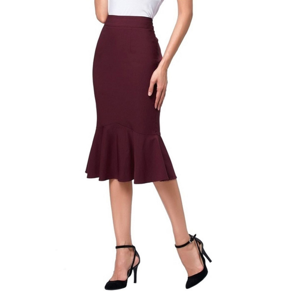 2020 Women Skirt Mini Bodycon Skirt Office Women Slim Knee Length High Waist Stretch Cocktail Sexy Pencil A-line Skirts Femme