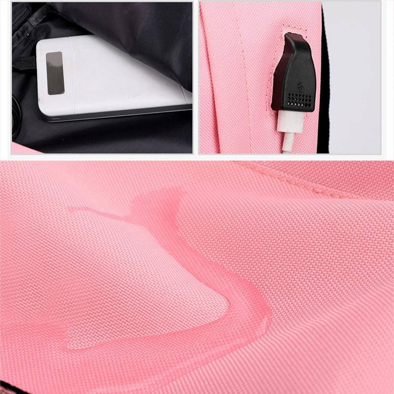 Image 3 - USB Charging new Luminous Chain Nylon female book bag backpack schoolbag school bag travel pack women for teenage teenagers girlBackpacks   -