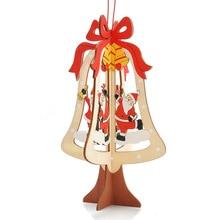 2pcs/Set DIY Christmas Tree Wooden Pendants Ornaments Party Decorations Xmas Kids Gifts