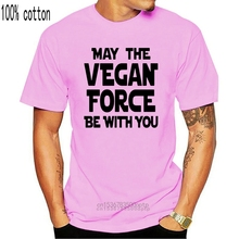MAY THE VEGAN FORCE BE WITH YOU BLACK GREEN HUMOR Mens Green T-Shirt