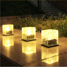LED Solar Garden Light Outdoor Solar Powered Brick Ice Cube Waterproof Landscape Lighting for Pathway Patio Yard Lawn Decoration