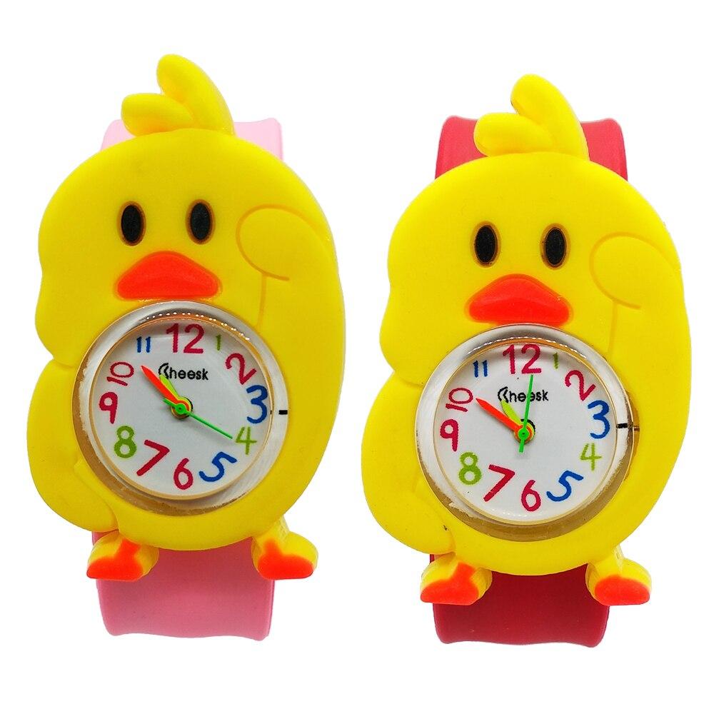 Новые детские часы с изображением Красной утки, Милые Желтые Детские игрушки с изображением цыпленка, детские часы, подарок для мальчиков и