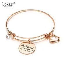 Lokaer Rvs Creatieve Belettering Ze Geloofde Inspirational Loving Charm Armbanden Voor Vrouwen Meisje Bohemen Sieraden B17079