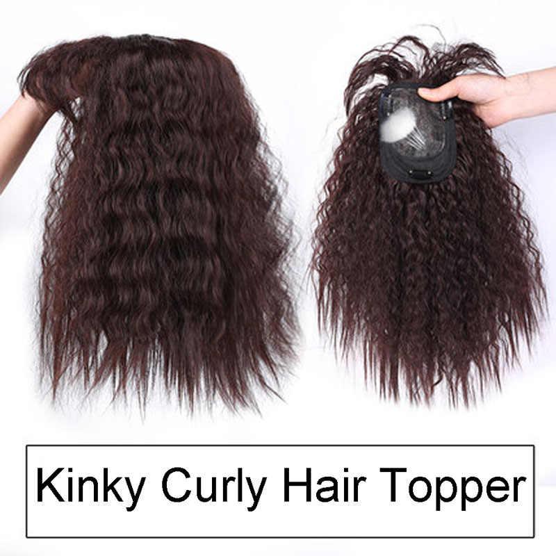 AILIADE Schwarz Natürliche Corn Curly Zwischen Seide Basis Haar Topper Toupet Haarteile für Frauen Remy Menschlichen Toupet Haar für Frauen