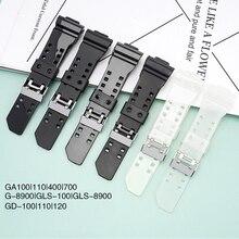Резиновая запасная часть для ремешка для часов для объектива с оптическими зумом Casio G-SHOCK GA-100/110/120/150/400/700 GD-100/110/120 GW-8900 GLS-100 смолы браслет