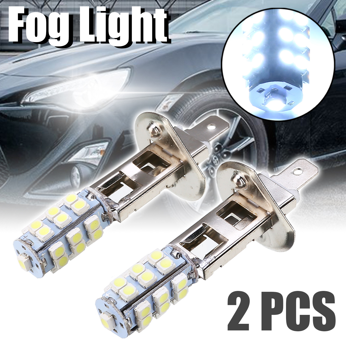 2pcs/set H1 Car Fog Light 25 SMD LED Car Fog Driving Light Headlight Car Replacement Bulb Super Bright White Fog Lights
