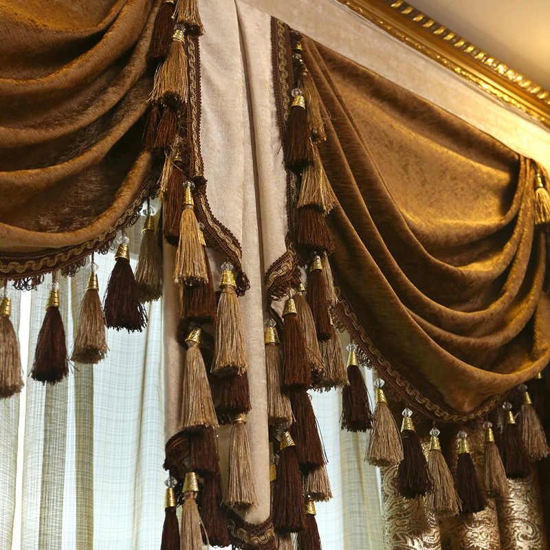 ヨーロッパ中国革ジャカード刺繍カーテンリビングダイニングルームベッドルーム。