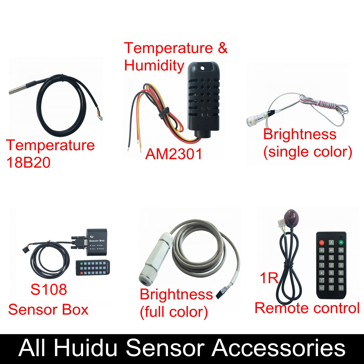 Huidu Sensors Temperature 18B20,Temperature & Humidity Sensor AM2301,Single/RGB Brightness Sensor, Sensor Box,1R Remote