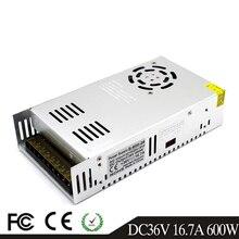 600W 36V 16.7A controlador del interruptor de la fuente de alimentación transformadores AC110V 220V a DC36V SMPS para módulos de tira Led luz CCTV impresora 3D