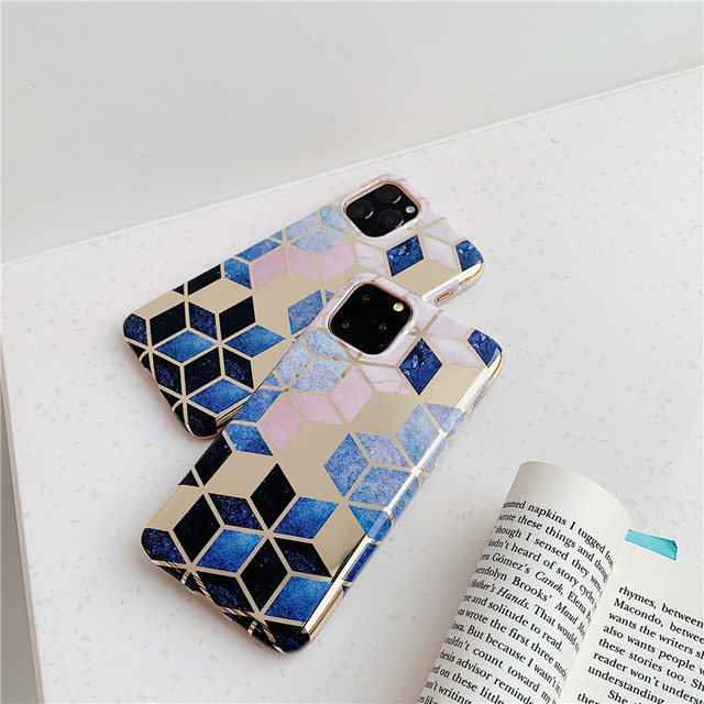 FLYKYLIN Retro Geometric Marble Case For iphone XR X XS 11 Pro Max 6S 6 S 7 8 Plus Back Cover Soft IMD Silicone Coque Shell Skin