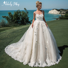 Adoly mey glamourosa apliques tribunal trem a linha vestido de casamento 2020 luxo colher pescoço botão frisado flores princesa vestido de noiva