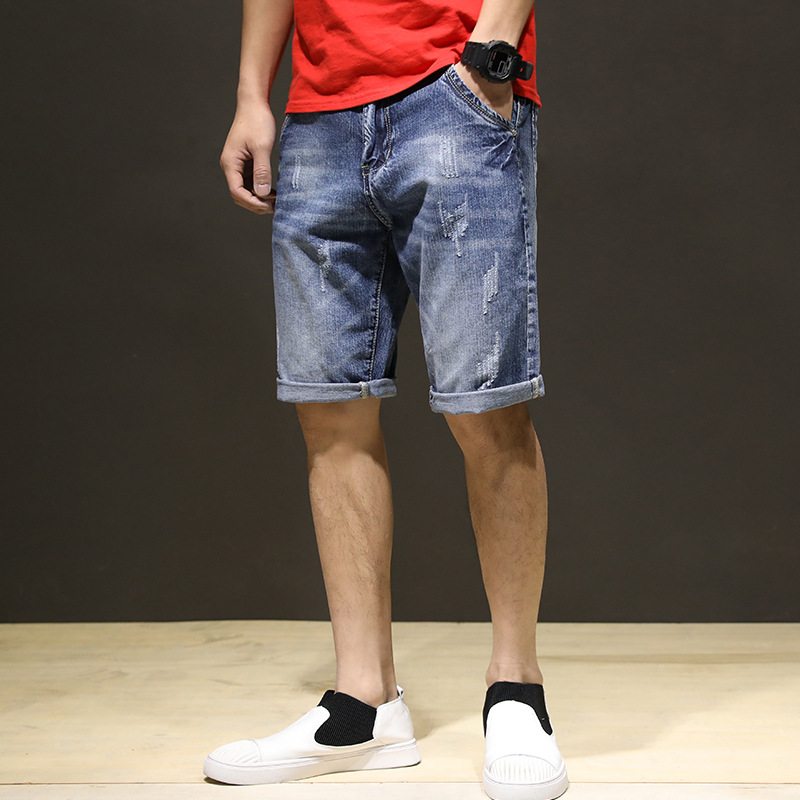 New Style Denim Shorts With Holes Trend Cool Korean-style Slim Fit Shorts Summer Men'S Wear 5 Pants Breeches