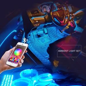 Image 1 - 8 متر RGB الألياف البصرية سيارة الداخلية الزخرفية المحيطة ضوء App التحكم الصوتي LED قطاع ولاعة السجائر السيارات جو مصباح 12 فولت