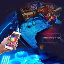 8M RGB 광섬유 자동차 인테리어 장식 앰비언트 라이트 App 사운드 컨트롤 LED 스트립 담배 라이터 자동 분위기 램프 12V