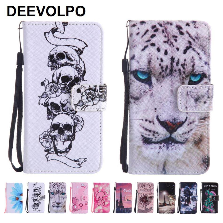 DEEVOLPO կաշվե հեռախոսային պայուսակներ Samsung S8 J120 J330 J530 J730 J3 2016 J5 2017 J7 Prime A310 A320 A510 A520 Leopard Skull D06F