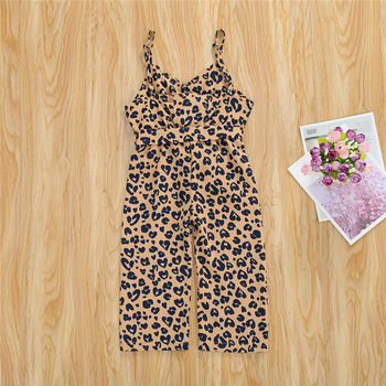 цена на Summer Baby Leopard Print Spaghetti Strap Sleeveless Backless Long Jumpsuit Toddler Girl Clothes 1-6 Years
