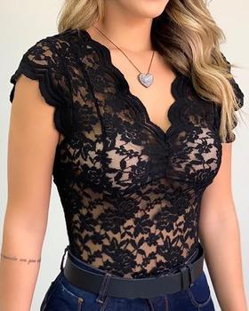 Women Summer Fashion Lace Blouse Ladies White Black Sexy Transparent Shirts