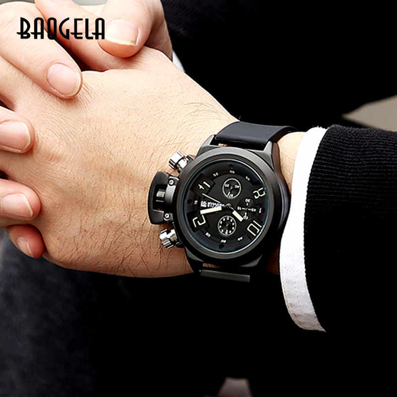 BAOGELA Chronograph Uhr Top Marke Luxus Luminous Silikon Quarz Armbanduhren Militär Sport Armbanduhr Für Mann 1606