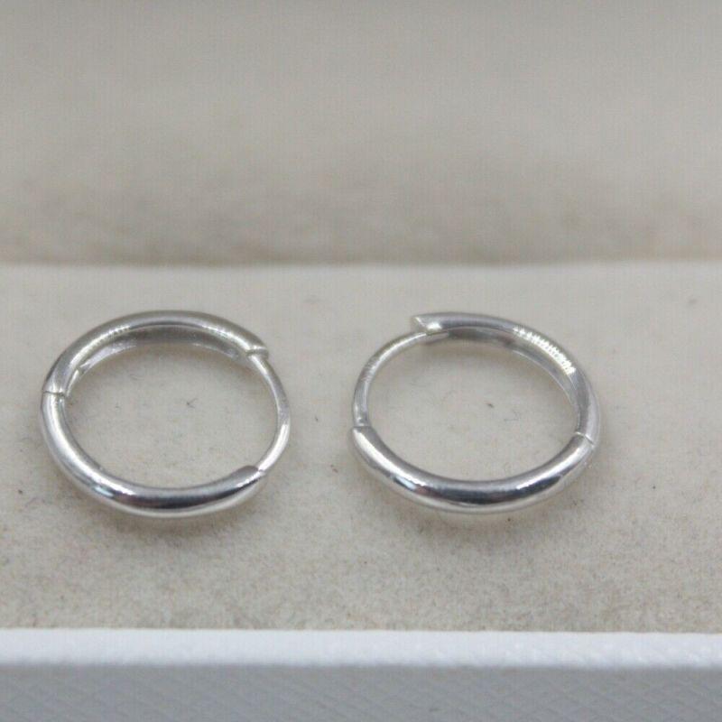 Boucles d'oreilles en or blanc 18K pur cercle brillant petites boucles d'oreilles pour femmes