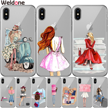 Pretty Beautiful Fashion Girls Case Cover For iPhone XS Max XR X 6 6s 7 8 Plus 5 5S SE Silicone Phone Cases Covers Etui Coque
