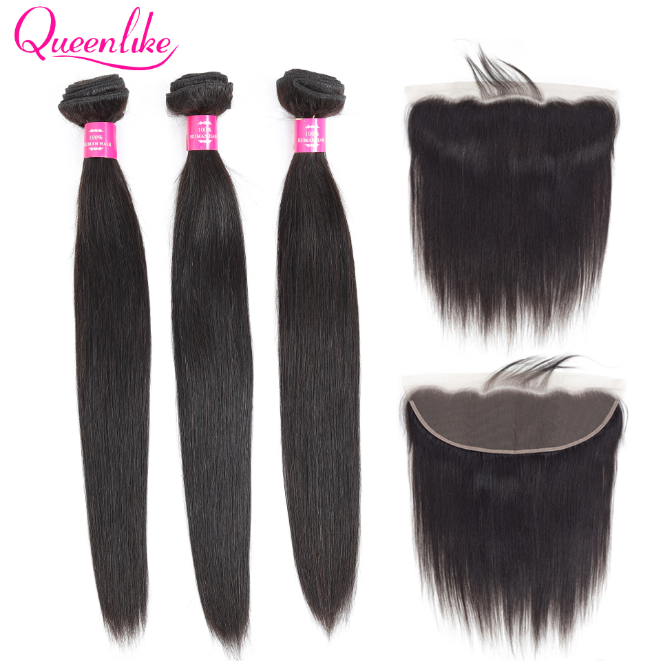 QueenLike Products Peruvian Lace Frontal Closure With Bundles 100% Human Hair Non Remy 3 4 Straight Hair Bundles With Frontal