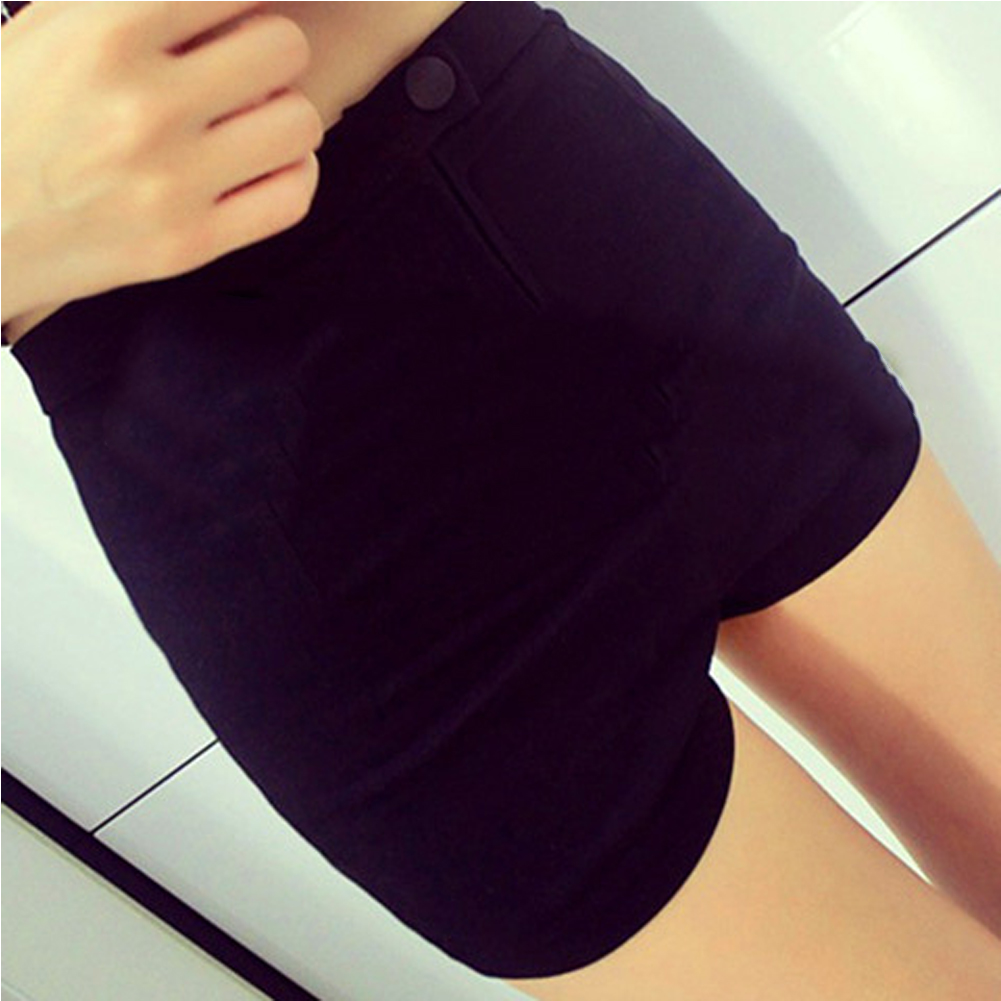 Solid Beach Casual Summer Cotton Blend High Waist Party Shorts Stretchy Slim Fit Women