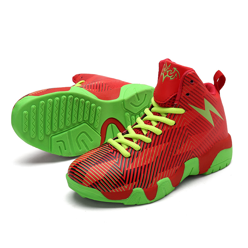 Student Basketball Shoes Thick Sole Non slip Leather Boys Sneakers Footwear High Top Outdoor Rubber Children Basket Ball Shoes|Sneakers|   - title=