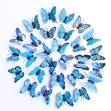 12Pcs/set 3D Colorful Butterfly Wall Sticker on the wall for Home Decor DIY Butterflies Fridge Magnet stickers Room Decoration high quality 3d colorful butterflies shape removeable wall stickers