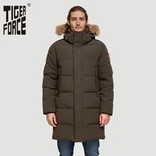 TIGER FORCE Alaska kurtka męska kurtka zimowa Parka mężczyźni Alaska płaszcz odpinany z kapturem męski płaszcz zimowy sztuczne futro zagęścić