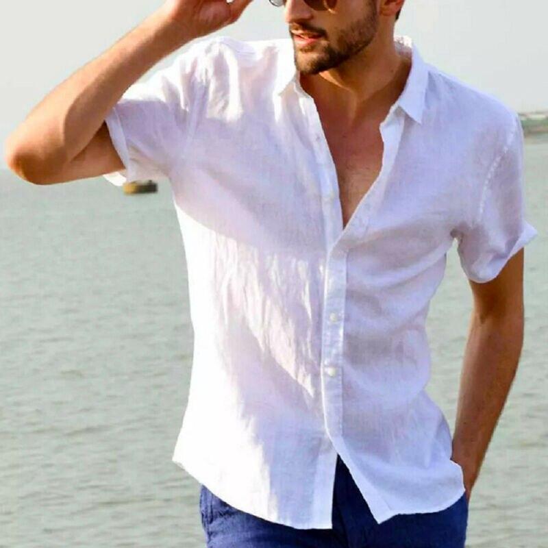 Men's Short Sleeve Linen Cotton Shirt Button Down Casual Shirt Short-Sleeve Mens Short Sleeve Shirts Button Down Shirts