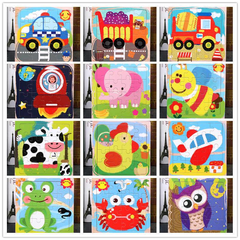 ألعاب الأطفال مونتيسوري خشبية لغز/الكرتون أنيمي مجموعة البحر قطعة بازل على شكل حيوانات التعليم لعبة خشبية الكرتون سيارة/لعب الأطفال هدية