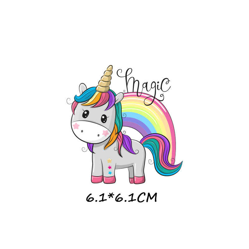 Hewan Lucu Patch Set Besi Pada Transfer Unicorn Burung Hantu Kucing Anjing Patch untuk Gadis Anak Pakaian DIY Perpindahan Panas Vinyl stiker H