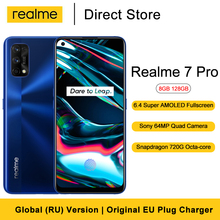 "Realme 7 Pro Smartphone 8GB 128GB 6.4"" FHD+ Fullscreen 64MP Quad Camera Snapdragon 720G Octa Core 4500mAh Battery Cellphone"