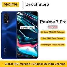 "Realme 7 Pro Smartphone 8GB 128GB 6.4 ""FHD + tam ekran 64MP dört kamera Snapdragon 720G Octa çekirdek 4500mAh pil cep telefonu"