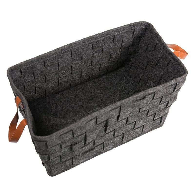 ABSS-Hand-Woven Felt Storage Basket Stitching Desktop Debris Debris Storage Box Dirty Clothes Laundry Basket Children Toy Organi