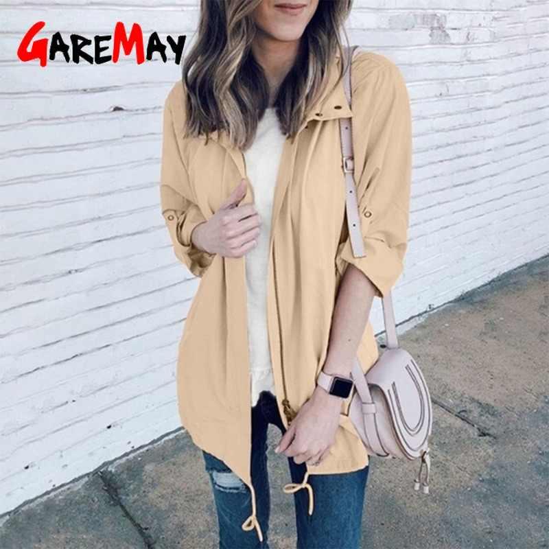 İlkbahar sonbahar moda yağmur montları ve ceketler kadın spor düz kapşonlu rüzgar geçirmez gevşek açık ceket rüzgarlık kadın yeni
