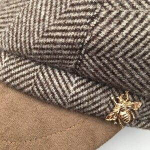 Image 5 - Militär hüte Herbst und winter neue wildleder nähte kappe weiblichen Britischen retro achteckige kappe flut nehmen navy kappe trendy street beat