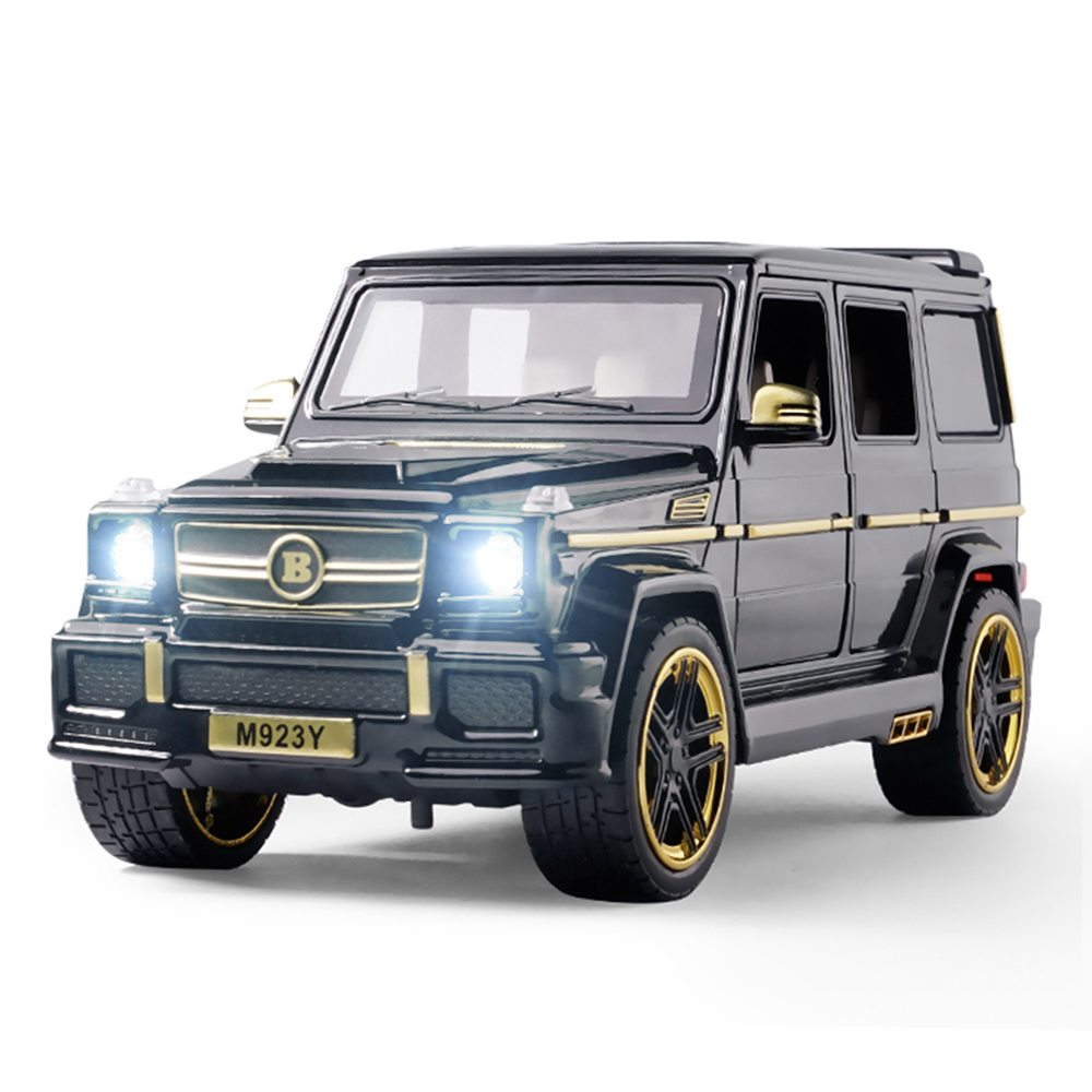 1:24 Diecast Toy Car Model Metal Vehicle Wheels Mercedes G65 G63 High Simulation Sound Light Pull Back Car Collection Kids Toys