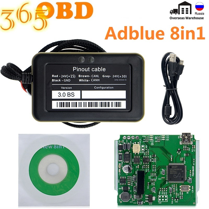 Эмулятор Adblue 8 в 1, эмулятор adblue 8 в 1 с программирующим адаптером, эмулятор Adblue для грузовика с датчиком Nox, диагностический инструмент