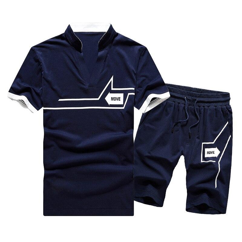 Short Sleeved Shorts Suit Men's MEN'S Sport Suit Fitness MEN'S T-shirt 2019 A Generation Of Fat Cross Border Men'S Wear