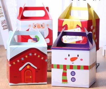 8 Uds. Decoración del Festival del año nuevo de Navidad galletas, chocolate, dulces, galletas, caja de papel, bolsa de regalo para fiesta, caja de manzana de Navidad