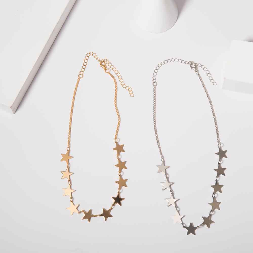 IngeSight.Z Korean Cute Copper Star Choker Necklace Collar for Women Statement Simple Minimalist Clavicle Chain Necklace Jewelry