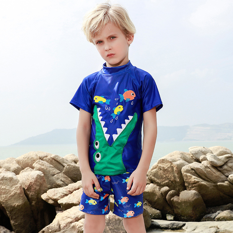 2019 New Style Hot Sales KID'S Swimwear Short Sleeve Shorts Split Type Quick-Dry Cartoon Embroidered Crocodile Handsome BOY'S Sw