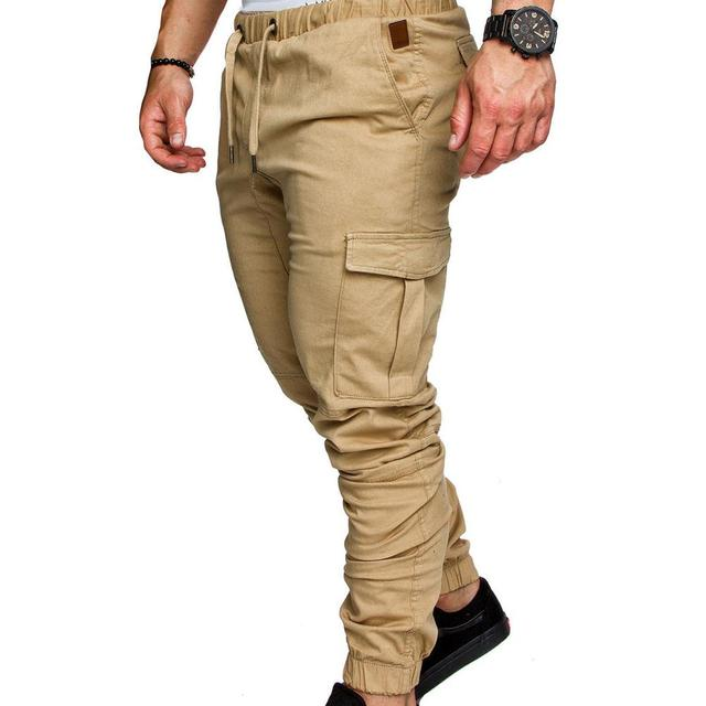 Pantalones informales para hombre, ropa de calle con bolsillos, cordón de cintura, tobilleros, ajustados, Cargo 3