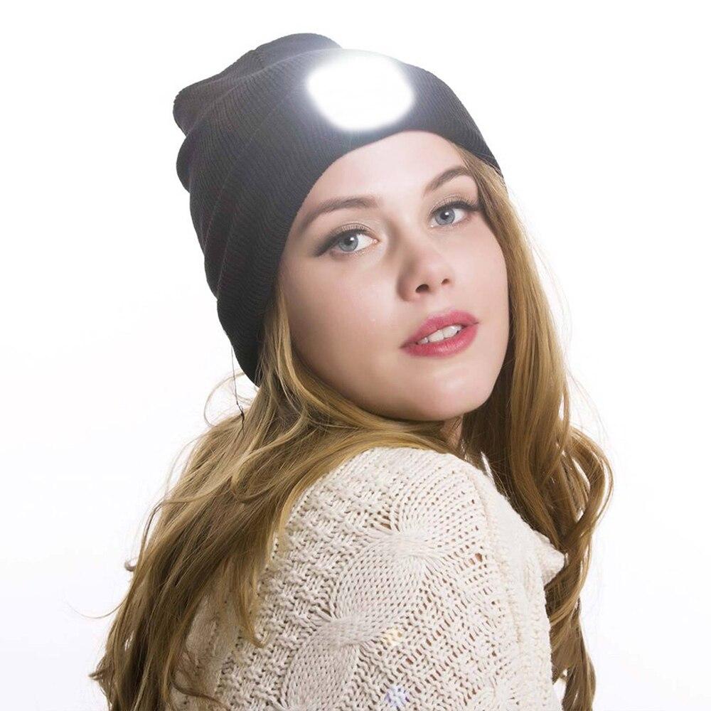 Gorro de punto con luz LED para hombre y mujer, gorro de Hip Hop para caza, Camping, correr, casa, regalos para Navidad y Halloween, No incluye batería