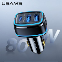 USAMS 80W Auto Schnell Ladegerät Usb Typ C PD 3,0 QC 3,0 Quick Charge SCP AFC Für Iphone 12 11 Pro Max X Xs Huawei P40 Xiaomi Samsung