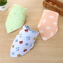 Baby Bibs High Quality Triangle Double Layers Cotton Baberos Cartoon Character Animal Print Bandana Dribble Towel
