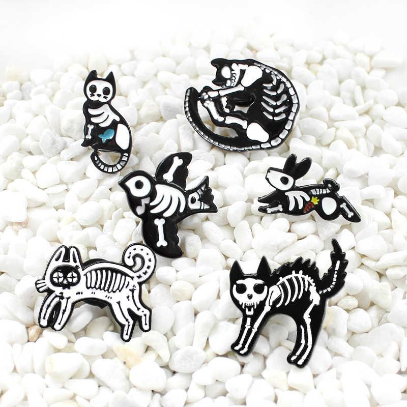Perspektif Hewan Skeleton Hitam Putih Gothic Enamel Bros Kucing Burung Kelinci Skeleton Kepribadian Kreatif Lencana Halloween Hadiah