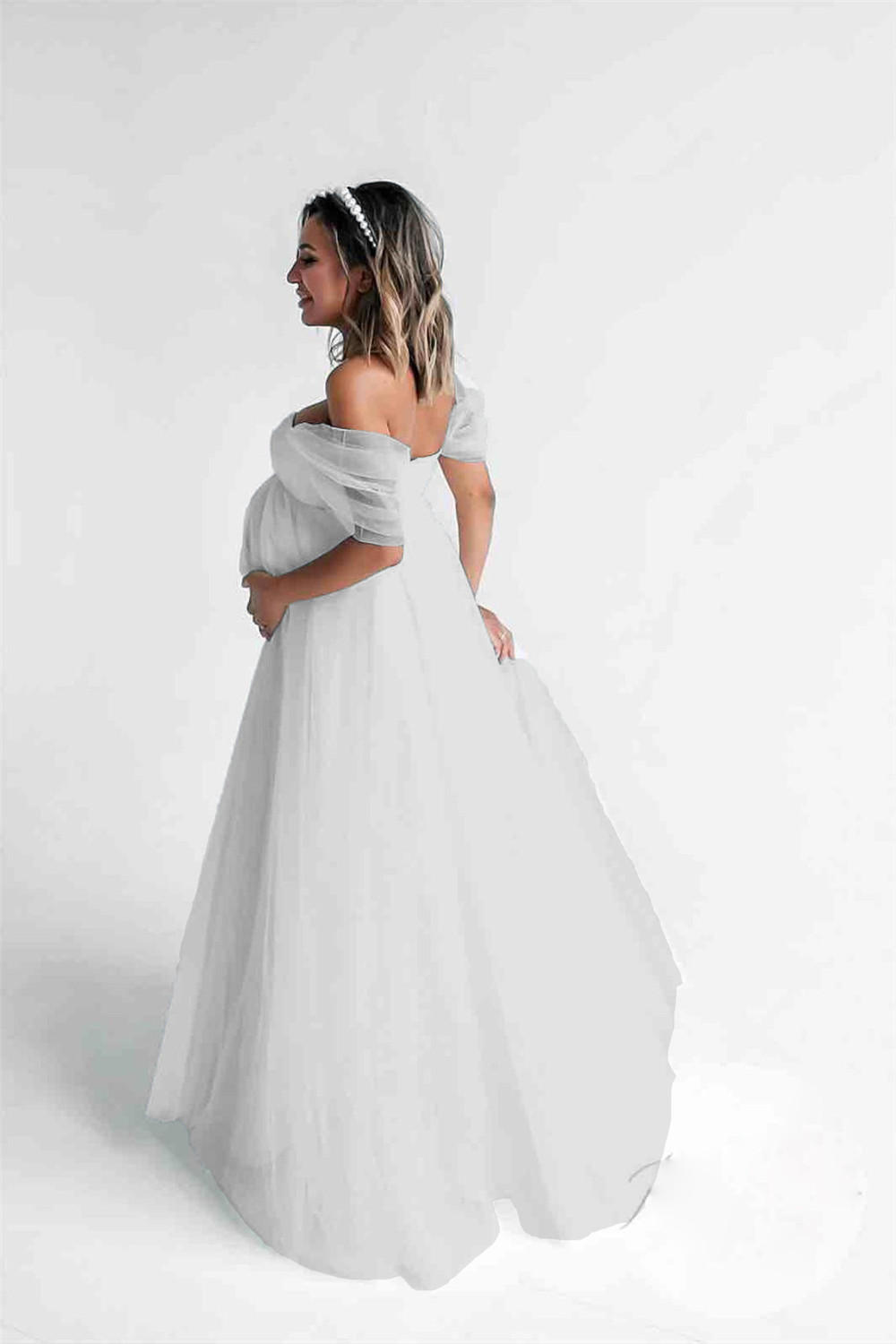 Shoulderless Sexy Maternity Dress Photo Shoot Long Pregnancy Dresses Photography Props Lace Chiffon Maxi Gown For Pregnant Women (3)
